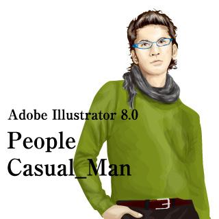 ロイヤリティーフリー素材:カジュアル_男性イラスト1:Illustrator