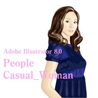 ロイヤリティーフリー素材:カジュアル_女性イラスト1:Illustrator