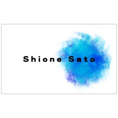 atーdesignの水彩風ペイント ブルーの名刺デザイン作成と印刷