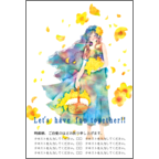 ワタナベの作品発表:はがき作成とDM印刷:風に舞う花