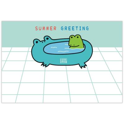 はがき・DM・ポストカードの作成と印刷:暑中見舞い(バスカエル)