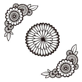 りえこのロイヤリティーフリー素材:花文様フレーム :Illustrator
